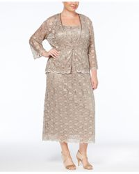 R & M Richards - Plus Size Dress And Jacket, Sleeveless Sequined Lace Sheath - Lyst