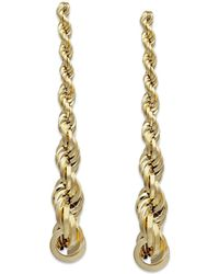 Macy's - Graduated Rope Linear Earrings In 14k Gold, 1 1/2 Inch - Lyst