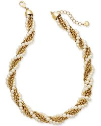 """Charter Club - Gold-tone Imitation Pearl And Chain Twist Collar Necklace, 18"""" + 2"""" Extender, Created For Macy's - Lyst"""