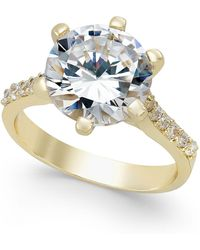 Charter Club - Gold-tone Round Crystal Ring - Lyst