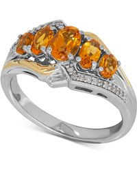 Macy's - Citrine (1-1/4 Ct. T.w.) And Diamond Accent Ring In Sterling Silver And 14k Gold - Lyst