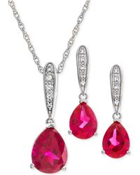 Macy's - Lab Created Ruby (3-1/4 Ct. T.w.) & White Sapphire (1/5 Ct. T.w.) Pendant Necklace & Drop Earrings In Sterling Silver - Lyst