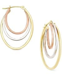 Macy's - Tri-tone Triple-hoop Earrings In 10k Yellow, White And Rose Gold - Lyst