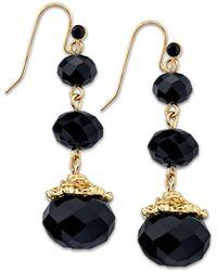 2028 - Gold-tone Black Beaded Drop Earrings - Lyst