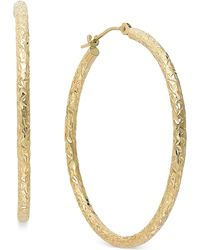Macy's - Diamond-cut Hoop Earrings In 14k Gold - Lyst