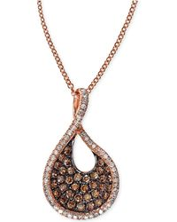 Effy Collection - Effy Espresso Diamond Swirl Pendant Necklace (1/2 Ct. T.w.) In 14k Rose Gold - Lyst