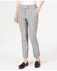 Marella - Gong Plaid Embroidered Pants - Lyst