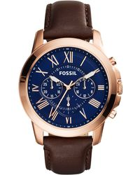 Fossil - Men's Chronograph Grant Brown Leather Strap Watch 44mm Fs5068 - Lyst