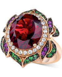 Le Vian - Garnet (7-5/8 Ct. T.w.) And Multi-stone Round Flower Ring In 14k Rose Gold - Lyst