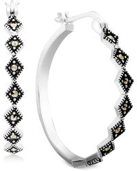Macy's - Marcasite Medium Patterned Hoop Earrings In Fine Silver-plate - Lyst