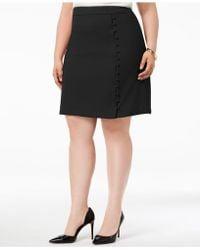 f36bdb1091fb7 Nine West - Plus Size Textured Crepe Button Skirt - Lyst