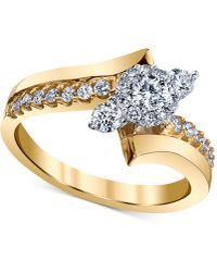 Macy's - Diamond Asymmetric Engagement Ring (5/8 Ct. T.w.) In 14k Gold And White Gold - Lyst