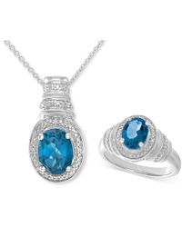 Macy's - Blue Topaz (3 Ct. T.w.) & Diamond Accent Pendant Necklace And Matching Ring Set In Sterling Silver - Lyst