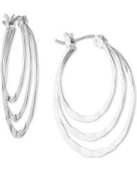 Nine West - Silver-tone Triple Hoop Earrings - Lyst
