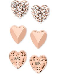 Michael Kors - Gold-tone 3-pc. Set Pavé Heart Stud Earrings - Lyst