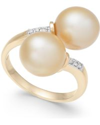 Macy's - Cultured Golden South Sea Pearl (9mm) And Diamond Accent Bypass Ring In 14k Gold - Lyst