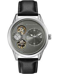 Sean John - Men's Worth Black Genuine Leather Strap Watch 45mm - Lyst