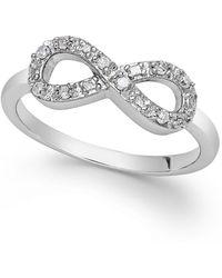 Macy's - Diamond Infinity Ring In Sterling Silver (1/10 Ct. T.w.) - Lyst