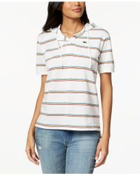 Lacoste - Cotton Striped Hooded Polo Shirt - Lyst