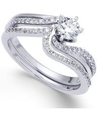 Macy's   Diamond Swirl Interlocking Bridal Set (5/8 Ct. T.w.) In 14k Gold   Lyst