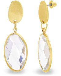 Catherine Malandrino - White Rhinestone Oval Shaped Yellow Gold-tone Drop Earrings - Lyst