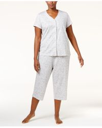 Charter Club - Plus Size Loop-trimmed Top And Cropped Pants Pajama Set - Lyst