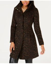 Via Spiga - Leopard Stand Collar Wool Coat With Faux Leather Detail - Lyst