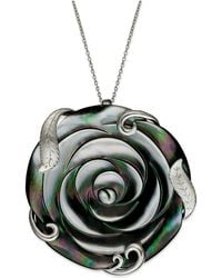 Macy's - Sterling Silver Necklace, Cultured Tahitian Mother Of Pearl Flower Pendant (50mm) - Lyst