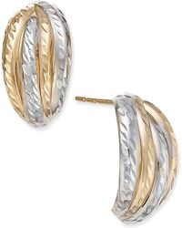 Macy's - Two-tone Textured Stud Earrings In 10k Yellow And White Gold - Lyst