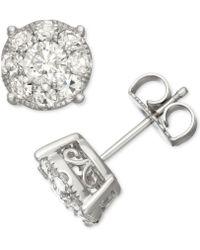 Macy's - Diamond Halo Stud Earrings (1-1/2 Ct. T.w.) In 14k White Gold - Lyst