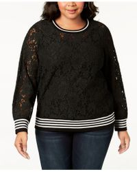 INC International Concepts - I.n.c. Plus Size Lace Sweatshirt, Created For Macy's - Lyst