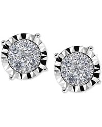 Macy's - Diamond Cluster Miracle-plate Stud Earrings (1/2 Ct. T.w.) In 14k White Gold - Lyst