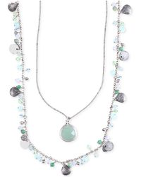 Lonna & Lilly - Silver-tone Two Layer Beaded Pendant Necklace - Lyst