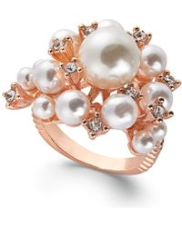 INC International Concepts - Rose Gold-tone Pavé & Imitation Pearl Cluster Ring, Created For Macy's - Lyst