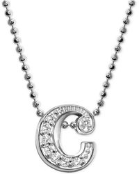 "Alex Woo - Diamond Accent Initial ""c"" Pendant Necklace In 14k White Gold - Lyst"