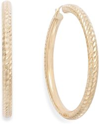 Signature Gold - Diamond-cut Hoop Earrings In 14k Gold - Lyst