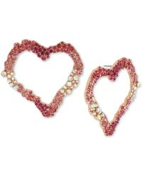 Betsey Johnson - Rose Gold-tone Pink Stone Heart Drop Hoop Earrings - Lyst