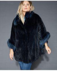 fa9826d33b0 The Fur Vault - Plus Size Fox-fur-trim Mink Cape - Lyst
