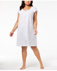 Charter Club - Plus Size Lace-sleeve Cotton Nightgown, Created For Macy's - Lyst