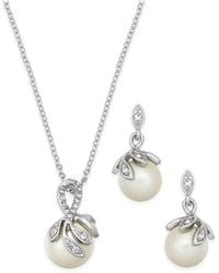 Charter Club - Silver-tone Pavé Imitation Pearl Pendant Necklace And Matching Drop Earrings Set - Lyst