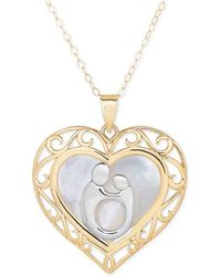 Macy's | Two-tone Mother-themed Heart Pendant Necklace In 10k Gold And Rhodium Plate | Lyst
