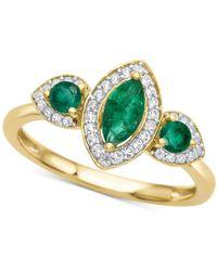 Macy's - Emerald (5/8 Ct. T.w.) & Diamond (1/6 Ct. T.w.) Ring In 14k Gold - Lyst