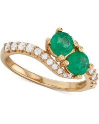 Macy's - Emerald (3/4 Ct. T.w.) & Diamond (3/8 Ct. T.w.) Two Stone Ring In 14k Gold - Lyst