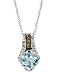 Le Vian - ® Chocolatier Aquamarine (1-3/8 Ct. T.w.) And Diamond (1/8 Ct. T.w.) Pendant Necklace In 14k White Gold - Lyst