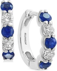 Effy Collection - Effy Sapphire (3/4 Ct. T.w.) And Diamond (3/8 Ct. T.w.) Hoop Earrings In 14k White Gold - Lyst