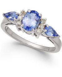Macy's - Tanzanite (1-1/2 Ct. T.w.) & Diamond (1/8 Ct. T.w.) Ring In 14k White Gold - Lyst