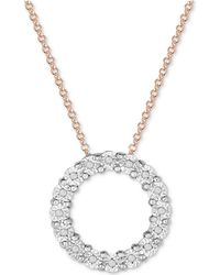 Macy's - Diamond Heart Miracle Plate Pendant Necklace (1/10 Ct. T.w.) In Sterling Silver - Lyst
