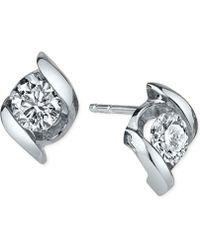 Sirena - Diamond Twist Stud Earrings (1/3 Ct. T.w.) In 14k White Gold - Lyst