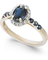 Macy's - Sapphire (1-3/8 Ct. T.w.) & Diamond (1/6 Ct. T.w.) Ring In 14k Gold - Lyst