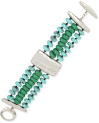 Robert Lee Morris - Silver-tone Beaded Triple-row Bracelet - Lyst